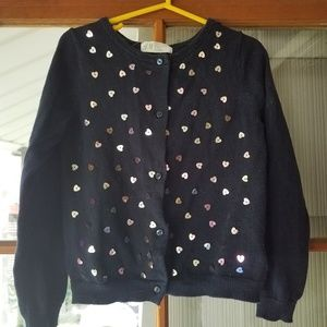 4-6y Cotton Cardigan Navy with heart sequins